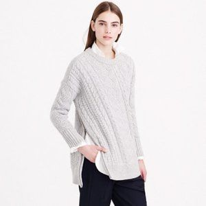 J crew wool side zip cable sweater Xs